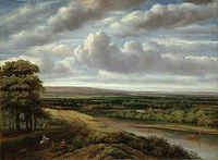 tablou philips koninck - the vast forest landscape (1670)