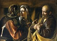 tablou caravaggio - the denial of saint peter (1610)