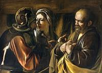 Tablou canvas caravaggio - the denial of saint peter (1610)