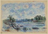 Tablou canvas renoir - landscape at pont aven, 1892
