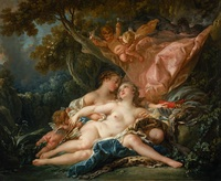 tablou francois boucher - the nymph callisto, seduced by jupiter in the guise of diane, 1759