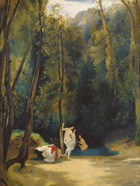 tablou carl blechen - woman bathing in the park of terni