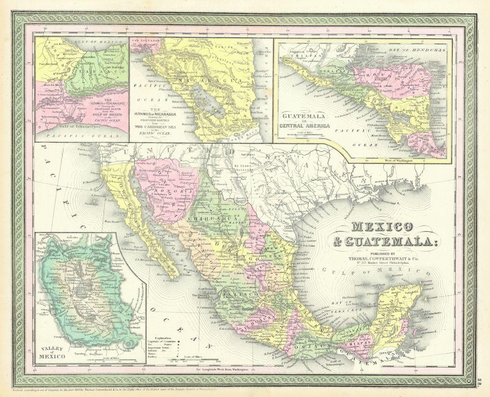 Tablou Canvas Harta Antica Mexico Guatemala 1850 Tablouri
