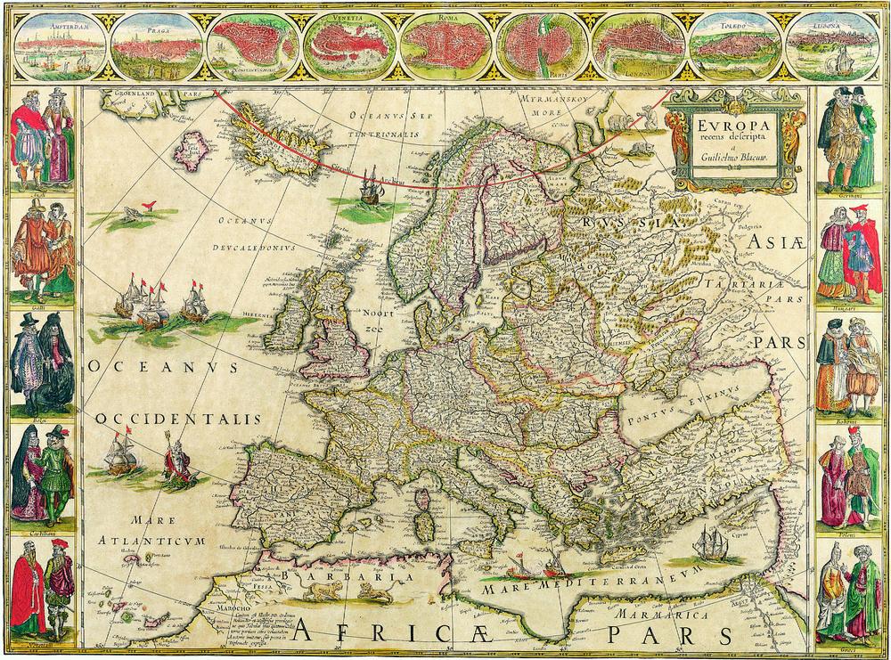 Tablou Canvas Harta Antica Europa 1650 Tablouri Harti Antice