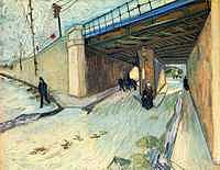 tablou van gogh - the railway bridge over avenue montmajour, 1888