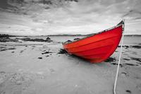 Tablou canvas barca (23) bicolor, rosu