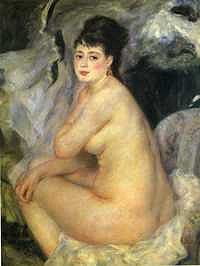 tablou piere auguste renoir - naked, sitting on the sofa (1876) (nud)