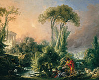 tablou francois boucher - landscape with the ancient temple (1762)