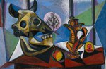 tablou picasso- bull skull, fruit, pitcher by picasso
