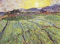 tablou van gogh - enclosed field with rising sun, 1889