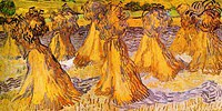 tablou van gogh - field with stacks of wheat