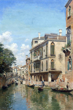 tablou a busy day on a venetian canal