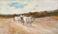 Tablou canvas nicole grigorescu - care cu boi la amiaza, 1905