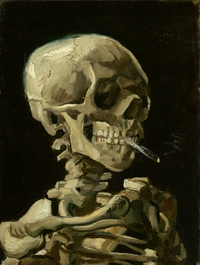 tablou vicent van gogh - head of a skeleton with a burning cigarette, 1886