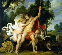 Tablou canvas rubens - venus and adonis (2) (1614)