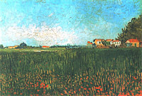 tablou van gogh - farmhouses in a wheat field near arles, 1888