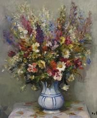 tablou marcel dyf - bouquet with delphinium, 1950