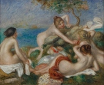 Tablou canvas Renoir - bathers playing with a crab, 1890