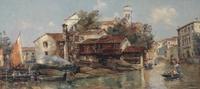 Tablou canvas anton maria de reyna - manescau gondola shipyard