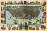 tablou harta veche st louis birdseye map 1896