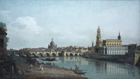tablou canaletto - dresden seen from the right bank of the elbe, beneath the augusts bridge