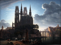 tablou karl friedrich schinkel - gothic cathedral at the waterfront,1813