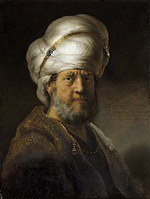 Tablou canvas rembrandt - portret of a man in a turban (1635)