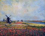 tablou claude monet   fields of flowers and windmills near leiden, 1886