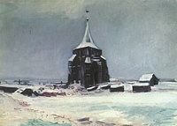 Tablou canvas van gogh - the old cemetery tower at nuenen in the snow, 1885
