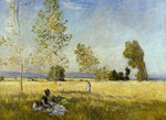 tablou claude monet   meadow at bezons, 1874