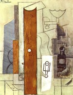 tablou picasso- guitar, gas jet and bottle [1913]