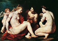 Tablou canvas rubens - venus, cupid, baccchus and ceres (1612)