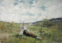 tablou nicolae grigorescu  - taranca torcand