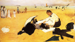 Tablou canvas 1877  edgar degas - bains de mer, petite fille peignee par sa bonne