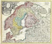 tablou scandinavia, norway, sweden, denmark, finland and the baltics, 1730
