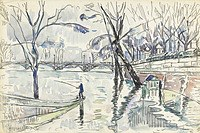 Tablou canvas paul signac - paris, the seine and pont des arts, 1933