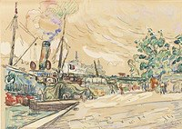 tablou paul signac - paris, the seine and saints peres bridge, 1925