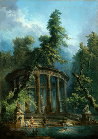 Tablou canvas hubert robert - bathing pool