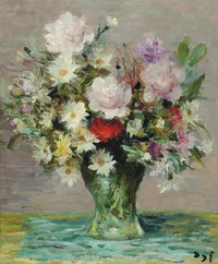 tablou marcel dyf - roses and papavers, 1970