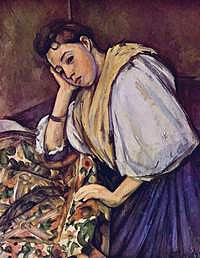 tablou paul cezanne - young italian girl resting on her elbow, 1896