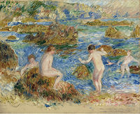 tablou pierre auguste renoir - nude boys among the rocks in guernsey, 1883