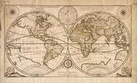 tablou old map of the world, 1676