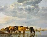tablou aelbert cuyp - cows on the river, 1655
