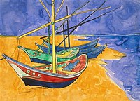 tablou vincent van gogh - boats at saintes maries