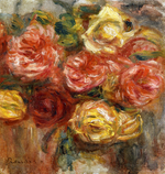Tablou canvas Renoir - bouquet of roses in a vase, 1900