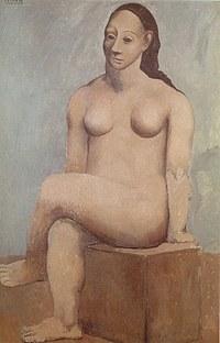 tablou picasso - femme nue sur pierre carree, 1907