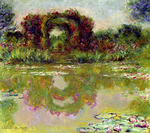 Tablou canvas claude monet - rose arches at giverny, 1913
