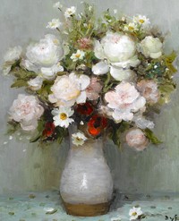 tablou marcel dyf - roses and papavers red