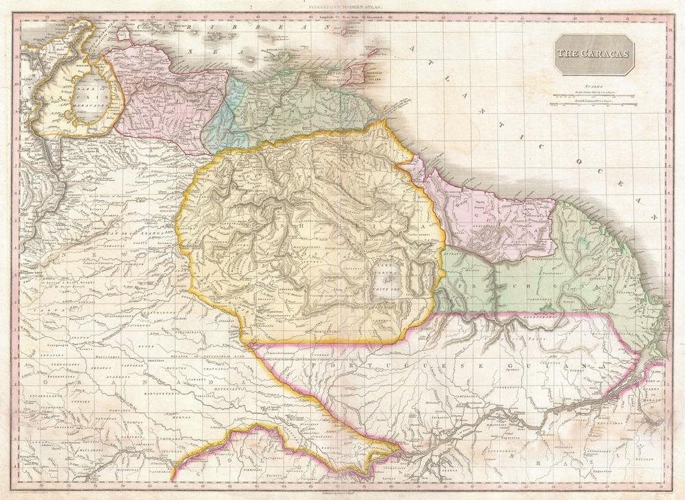 Tablou Canvas Harta Antica America De Sud Venezuela Guyana