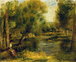 Tablou canvas Renoir - banks of the river